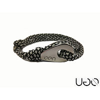 Bracelet UGO Cordon Noir et Blanc