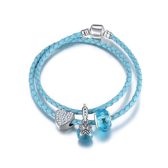 Bracelet Charm Double Papillon Bleu 19 cm