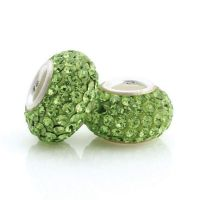 Olive crystal and silver charm bead