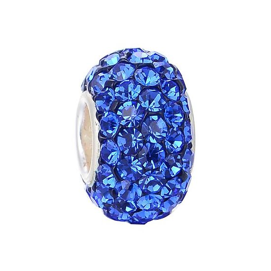 Blue crystal and silver charm bead