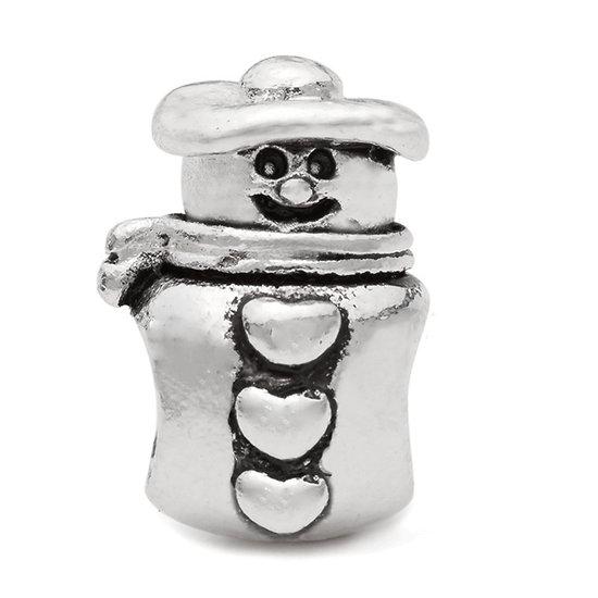 Silver plated snowman charm bead