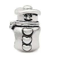 Silver plated snowman charm bead
