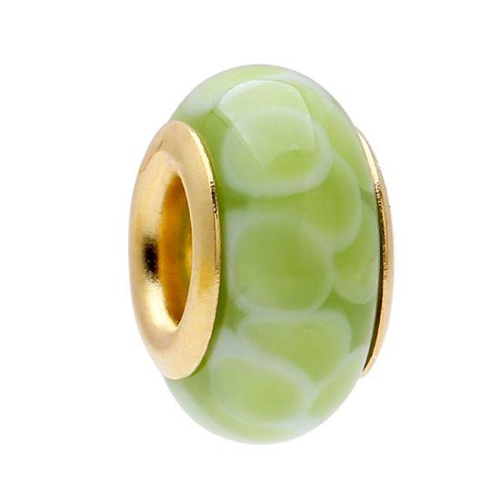 Perle en verre Vert Motif Écailles
