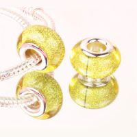 Yellow glitter bead