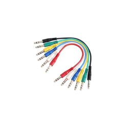 SET 6 CABLES PATCH JACK 6,35 mm STEREO / JACK 6,35 mm STEREO 0,90 METRE