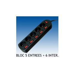 BLOC 5 PRISES + 6 INTERRUPTEUR 3X1.5mm2 2M