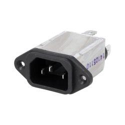 CONNECTEUR ALIMENTATION MALE C14 (E) 250VAC 10A AVEC FILTRE (80120)