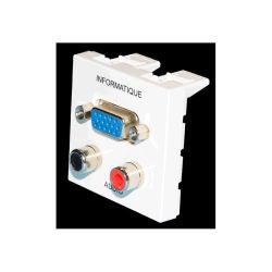 PLASTRON AVEC 1 EMBASE VGA FEMELLE + 2 EMBASE RCA FEMELLE (80120)