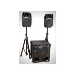 "SYSTEME ACTIF USB/BLUETOOTH 2 TETES 8"" + CAISSON 12"" + PIEDS + CABLES PARTY"