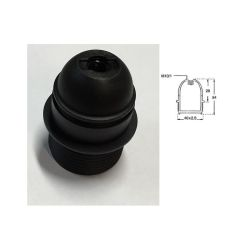 DOUILLE PLASTIQUE E27 250V 2A 190° MI FILETEE NOIRE (80120)