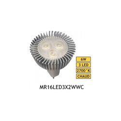 AMPOULE LED 12V 6W MR16 BLANC CHAUD 2700°K 280 LUMENS