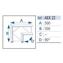 ANGLE 2 DEPARTS HORIZONTAL 90° LG 0.50X0.50M
