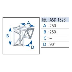 ANGLE 2 DEPARTS 90° VERTICAL 25X25 CM ASD
