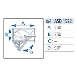 ANGLE 2 DEPARTS 90° HORIZONTAL 25X25 CM ASD
