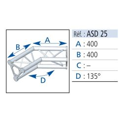 ANGLE 2 DEPARTS 135° LG 0.40X0.40 CM