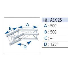 ANGLE TRIANGULAIRE 290 ALU 2 DEPARTS 135° 0.50X0.50 METRE ASD