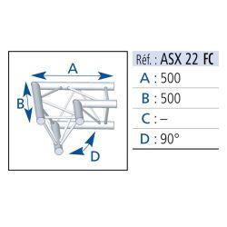 ANGLE 2 DEPARTS HORIZONTAL 90° LG 0.50X0.50 M