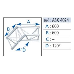 ANGLE 2 DEPARTS PIED 120° LG 0.60X0.60 M