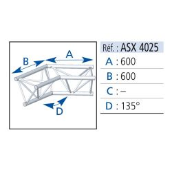 ANGLE 2 DEPARTS 135° LG 0.60X0.60 M