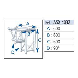 ANGLE 3 DEPARTS 90° PIED DROIT LG 0.60X0.60 M