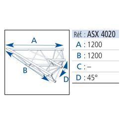 ANGLE 2 DEPARTS 45° LG 1.20X1.20M