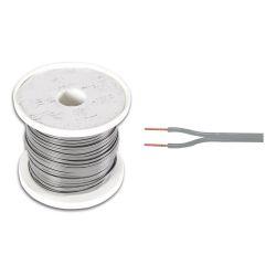 BOBINE 100 METRES CABLE HP 2x0.75mm² GRIS ALUMINIUM CUIVRE