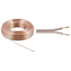 BOBINE 10 METRES CABLE HP 2X1.5mm² TRANSPARENT ALUMINIUM CUIVRE (160220)