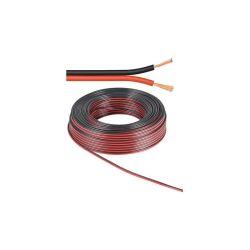 BOBINE 50 METRES CABLE HP 2X1.5mm² ROUGE / NOIR ALUMINIUM CUIVRE