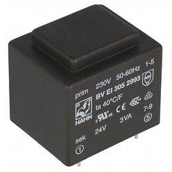 TRANSFO MOULE ENTREE : 230V SORTIE : 1X24V 3VA 0,125A 32X27X30mm (80120)