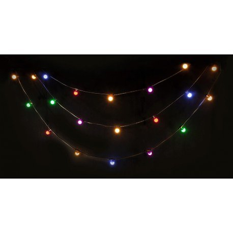 GUIRLANDE LUMINEUSE GUINGUETTE 20 LED DE COULEUR IP44 - 10M LEDSTRING-COLOR