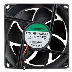 VENTILATEUR 24Vcc 0.073A 1.8W 80X80X25mm 69.7m3/h 33dB 3200RPM (120180)