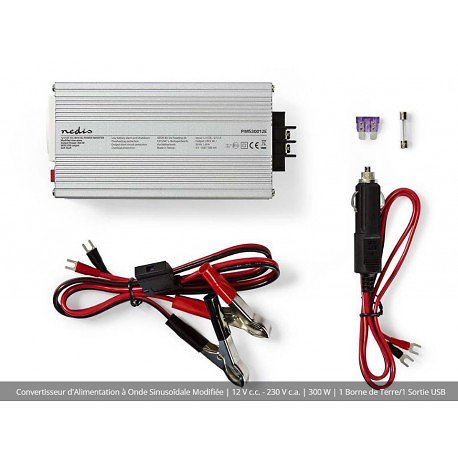 CONVERTISSEUR 12V DC VERS 230V 300W AVEC PORT USB