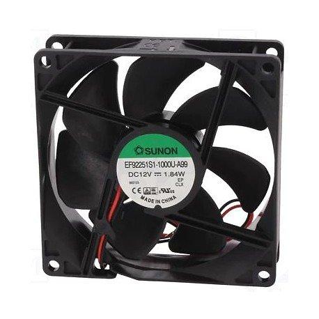 VENTILATEUR 12VDC 0.12A 1.66W 92X92X25mm 87.04m3/h 34dBA 24AWG