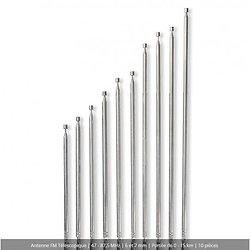 ASSORTIMENT DE 10 ANTENNES 47 - 87,5 MHz - 6 et 7 mm - Portée de 0 - 15 km