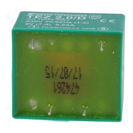TRANSFO MOULE ENTREE : 230V SORTIE : 1X9V 2VA 222.2mA 33 x 28 x 24 m (80120)