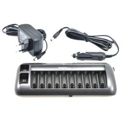 CHARGEUR ACCUS 10 x AA OU 10 x AAA OU 9V + PRISE 12Vcc