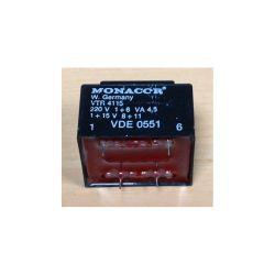TRANSFORMATEUR MOULE ENTREE : 220V SORTIE : 1X15V 4,5VA 1X0,3A 45x38x32mm