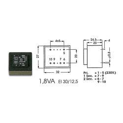 TRANSFO MOULE 18VA 1 x 15V / 1 x 1.333A