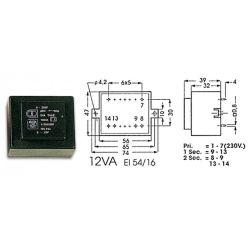TRANSFORMATEUR MOULE ENTREE : 230V SORTIE : 6V 2A 12VA (100150)