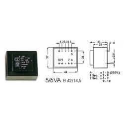 TRANSFO MOULE ENTREE : 230V SORTIE : 2X9V 5VA 2X0,278A 44x37x33mm (80120)