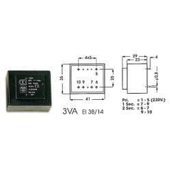 TRANSFO MOULE ENTREE : 220V SORTIE : 2X9V 3VA 2X0,16A 41x35x29mm (80120)