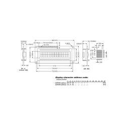 "LCD 16 x 2 ""BOTTOM VIEW"" TYPE TRANSFLECTIF AVEC RETRO-ECLAIRAGE"
