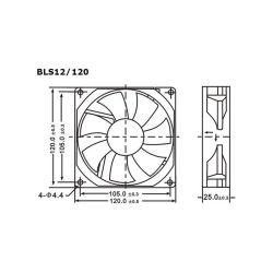 VENTILATEUR 12VCC 0.28A 120X120X25MM 126.5M³/H 35.5DB (160220)
