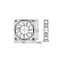 VENTILATEUR 12Vcc 180mA 3200TPM 28,5dB PALLIER LISSE 70x70x15mm (100150)