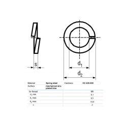 RONDELLE RESSORT M8 D=14,8mm H=2mm ACIER PLACAGE ZINC BN:762