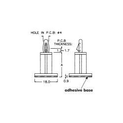 10 SUPPORTS AUTOCOLLANTS POUR CIRCUIT IMPRIME OUVERTURE 3mm H=5mm 18x18mm