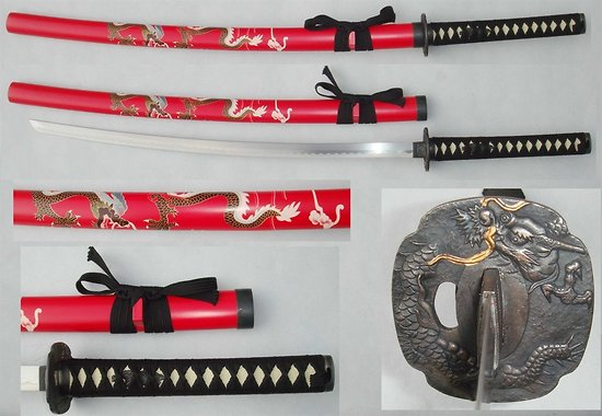 Katana red dragon