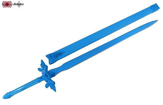 Epée en bois fleur bleu