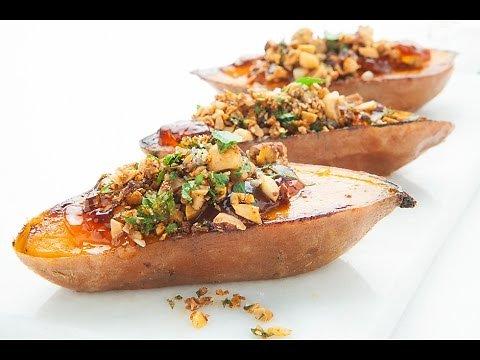 Patate douce pesto de noix grillées et gelée à l'érable
