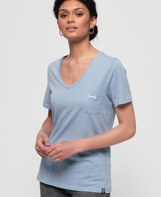 T-Shirt Brodé À Col V Essential